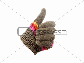 Gloves with thumb up