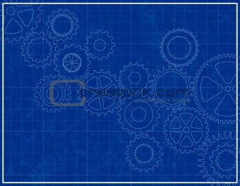 Awesome Blueprint Background With Cogs