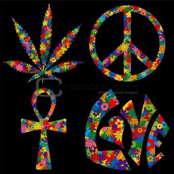 Four Flower Filled 60s Symbols