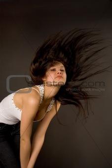 Beautiful girl shaking her head