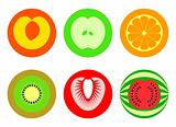 Round cut fruit symbols | Simple set