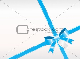 a simple blue ribbon with tag on white background