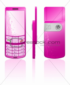 Vector illustration of a pink cellphone