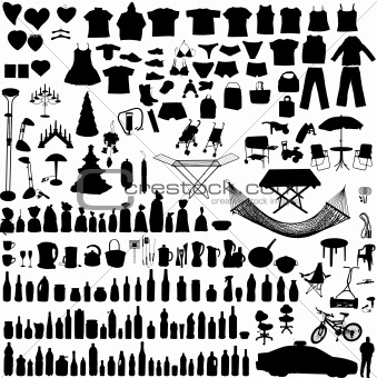 Vector household items set