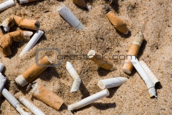 Cigarette butt in sand