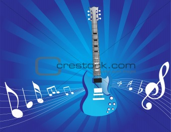 blue musical grunge guitar vector wallpaper