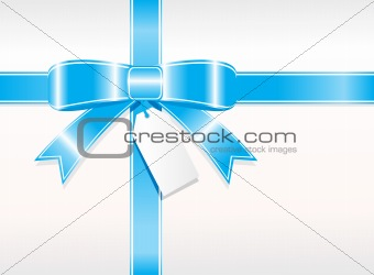 blue ribbon, bow with white card