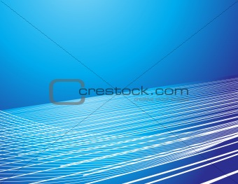 bright wavy lines on gradient blue background composition