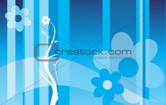 beautiful illustration of floral background, blue