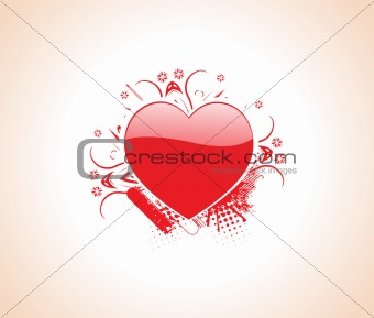 beautiful red gradient heart on floral background