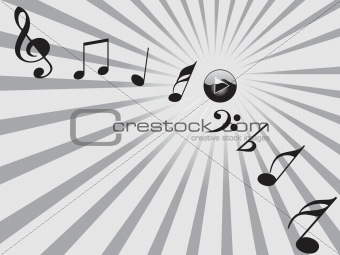 black musical tones and botton, grey vector wallpaper  black musical tones and botton, grey vector wallpaper