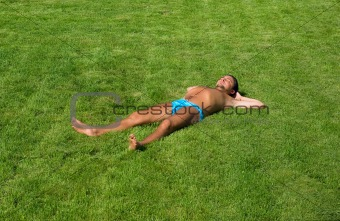 Man lying on the lawn