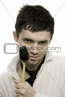 Black tulip and man