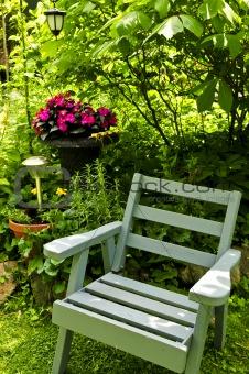 Chair in green garden