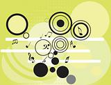 tunes with circles pattern, vector wallpaper