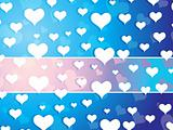 wallpaper, falling hearts in blue vector