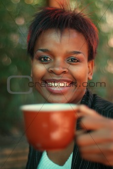 African American drinking coffee