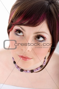 Portrait of healthy woman with long eyelashes
