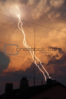thunder lightning cloud evening