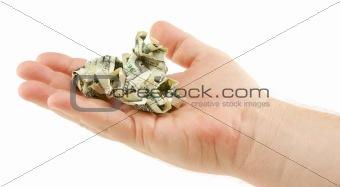 Crumpled Dollar Bills In Palm