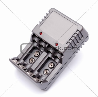 Accu battery charger on a white background
