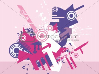 abstract vector of arrow and halftone elements
