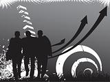black background of arrows and silhouette three men, wallpaper