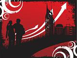 city background of arrows and silhouette couple, wallpaper