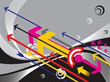 colorfull arrows series on gray background, banner