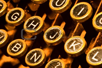 close up on typewriter keys