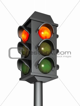 3d traffic light with a burning red signal
