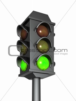3d traffic light with a burning green signal