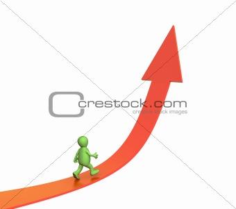 3d puppet going on a rising arrow