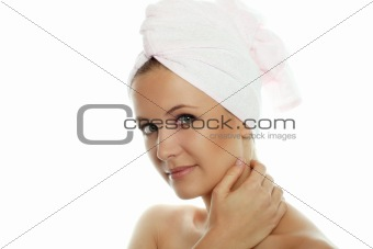beauty portrait of a woman with a towel