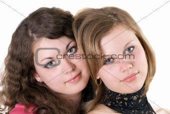 Portrait of the two beauty young women. Isolated. 2