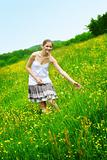 happy woman on a meadow