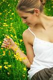 happy woman on a meadow