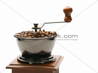 Old coffee grinder, isolated on white background
