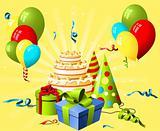 Birthday hat, gift and cake