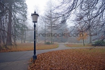 autumn park with lanterns