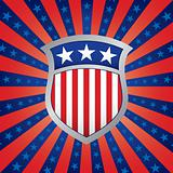 Shield on a Stars and Stripes Background