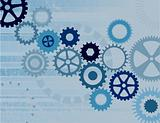 Various Blue Cogs on a Grunge Background