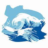 Stylized brushed ocean waves splash