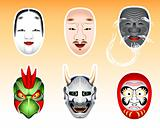 Japan Noh and Kyogen masks | Set 2
