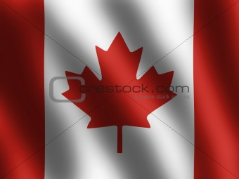 Canadian Flag waving in the wind, vector illustration