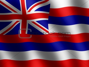 Flag of Hawaii waving in the wind, illustration