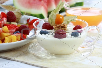 Healthy breakfast or snack - yogurt with fruits