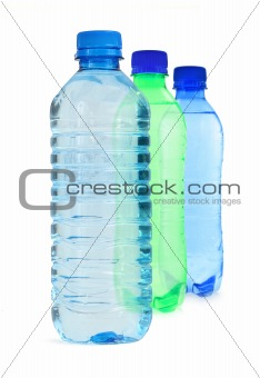 three bottles full of water