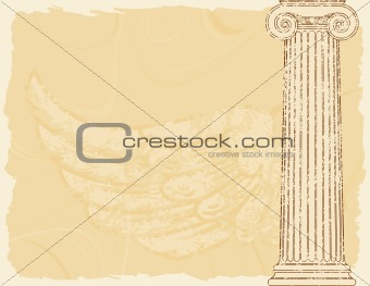 Grunge background with a column and a wing