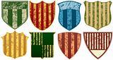 Eight Grunge Striped Shields